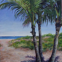 Oil painting Baby Palms, Fort Lauderdale, FL. by Betty Ann  Medeiros