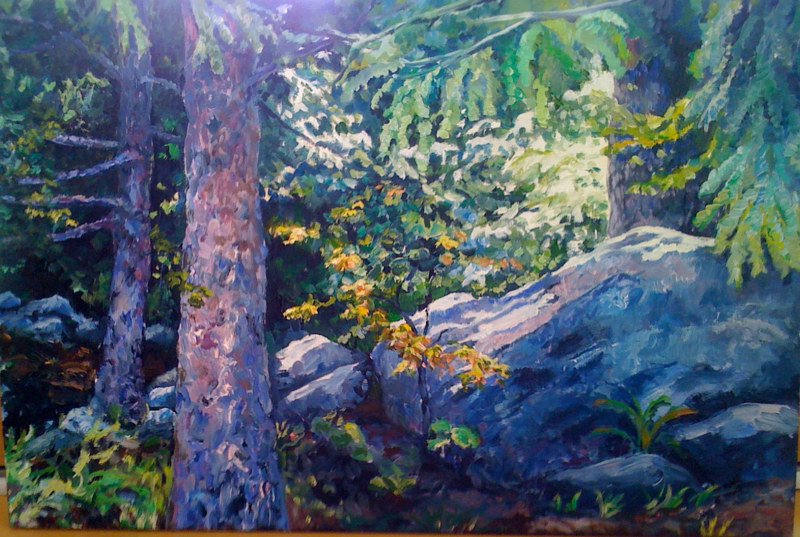 Oil painting Sunlit Rock by Betty Ann  Medeiros