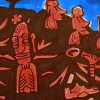 "Watercolor ""Easter Island"" by Kenneth M Ruzic"