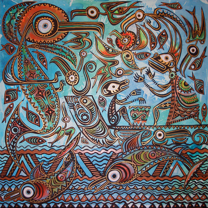 "Acrylic painting ""the Appearance of the Bird Fish"" by Kenneth M Ruzic"