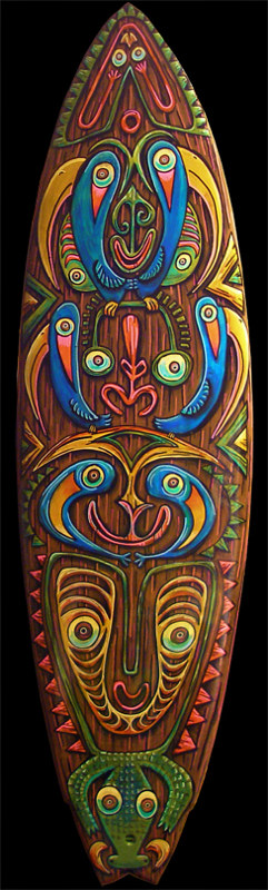 "Acrylic painting ""Sepik River Totem"" by Kenneth M Ruzic"
