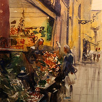 Watercolor Vegetable Market, Bologna by Nella Lush