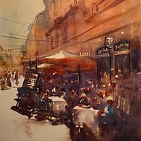 Watercolor An Afternoon in Milan by Nella Lush