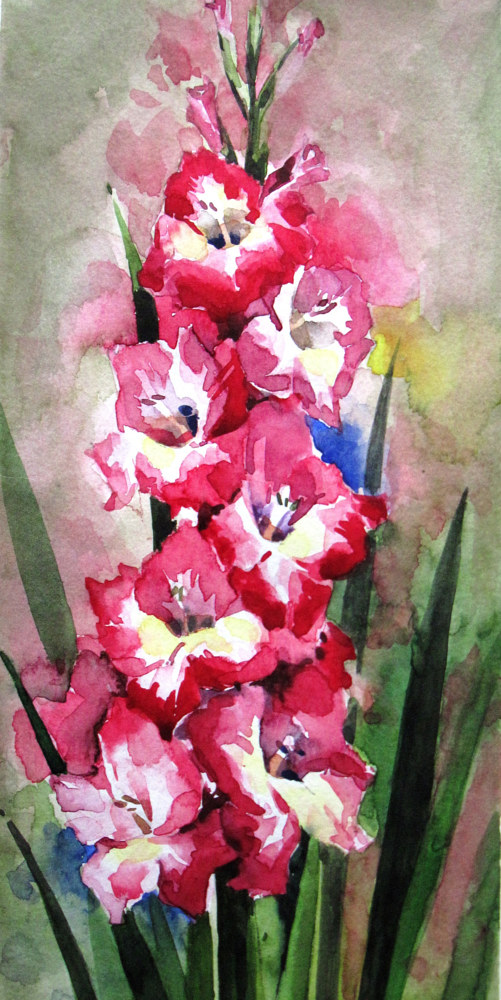 Watercolor pink canna by Eunice Sim