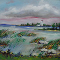 Painting Miramichi Bay Port Elgin Ontario, daytime July 18 by Michelle Marcotte