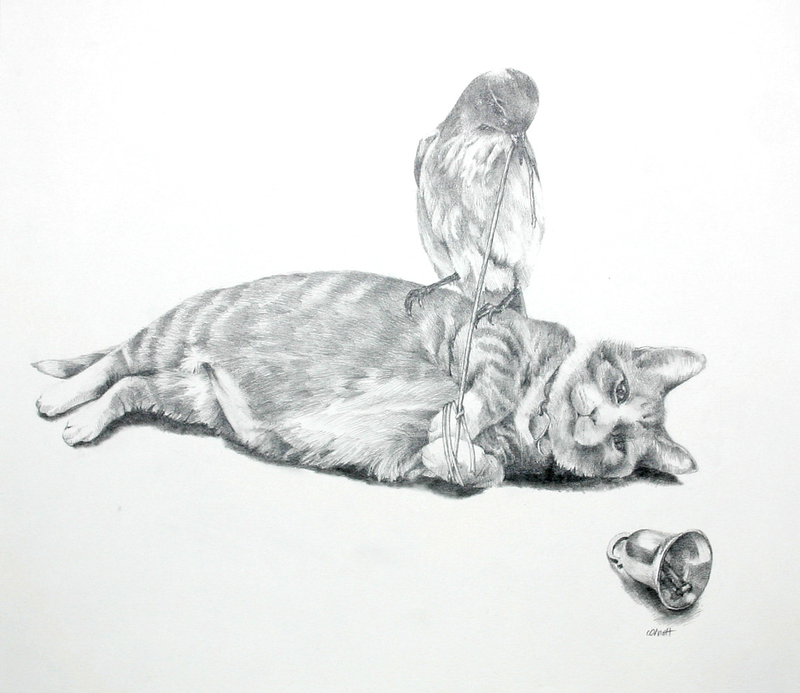 Drawing Belling the Cat by Ellen Cornett