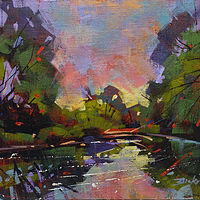 River Sunrise Acrylic 12x16 2016  by Brian  Buckrell