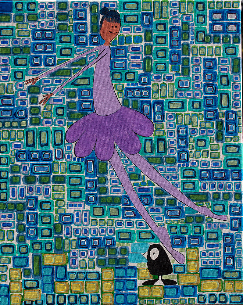 Acrylic painting The Ballet Went Terribly Wrong by Donna Howard