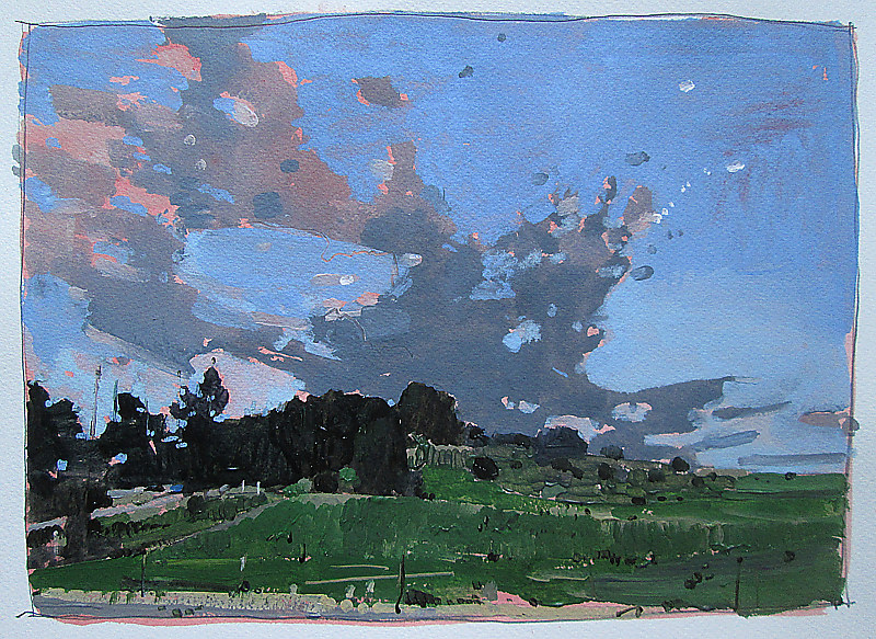 Acrylic painting August 1st, Sky Over Lost Dog Hill  by Harry Stooshinoff