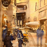 Watercolor The Cafeteria, Bologna by Nella Lush