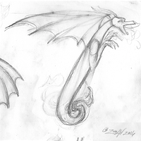 Drawing Dracoserific #7, Thumbnail Sketch by Sue Ellen Brown