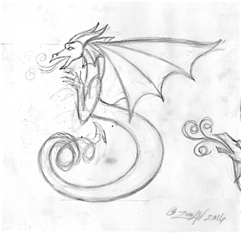 Drawing Dracoserific #5 by Sue Ellen Brown