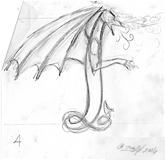 Drawing Dracoserific #4, Thumbnail idea by Sue Ellen Brown