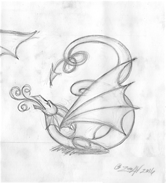 Drawing Dracoserific #3 by Sue Ellen Brown