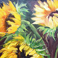 Oil painting  Sunflowers Three3 by Barbara Haviland