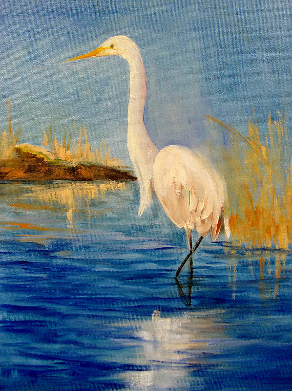 Oil painting  Egret Plein Air by Barbara Haviland