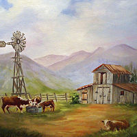 Oil painting  Cows and  Windmill   by Barbara Haviland
