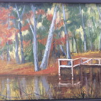 Oil painting  Vrana's Dock by Barbara Haviland