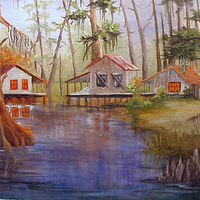 Oil painting Camps Along The Bayou by Barbara Haviland