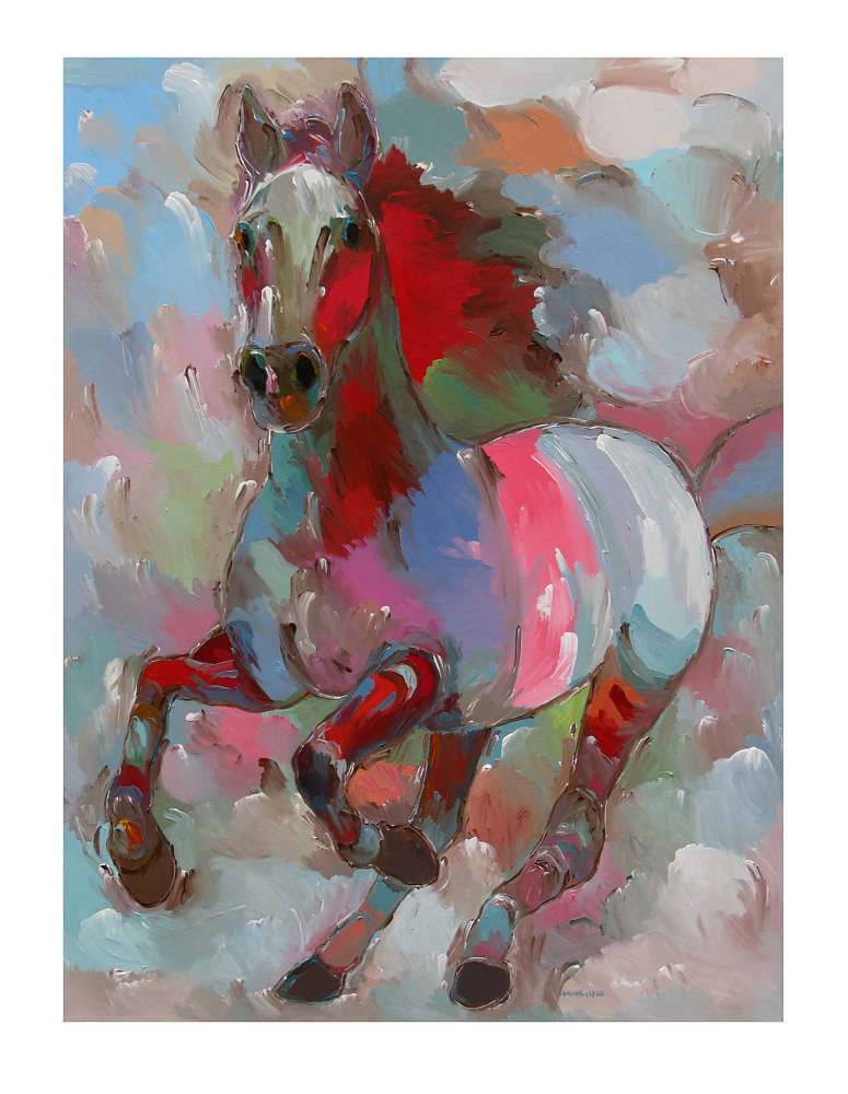 Acrylic painting Fiery Stallion, 36x48 inches by Hooshang Khorasani