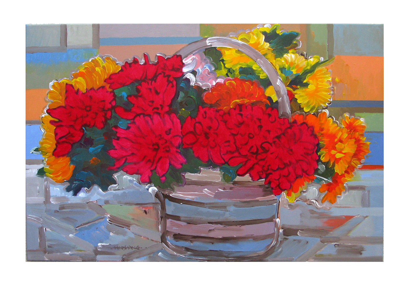 Acrylic painting Basket of Color. 24x36 inches by Hooshang Khorasani
