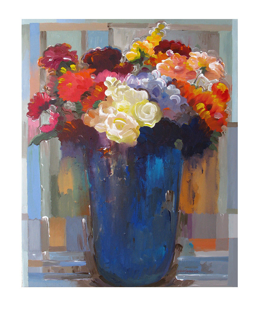 Acrylic painting Bouquet in Blue Vase II, 24x30 inches by Hooshang Khorasani