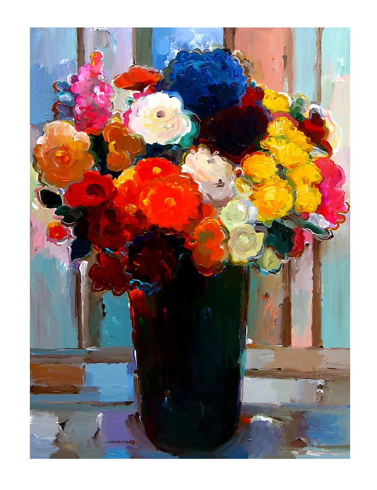 Acrylic painting Bouquet of Many Colors, 30x40 inches by Hooshang Khorasani