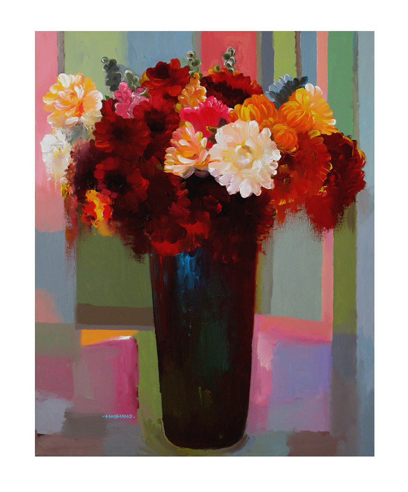 Acrylic painting Floral Offering, 24x30 inches/31x37 with frame by Hooshang Khorasani