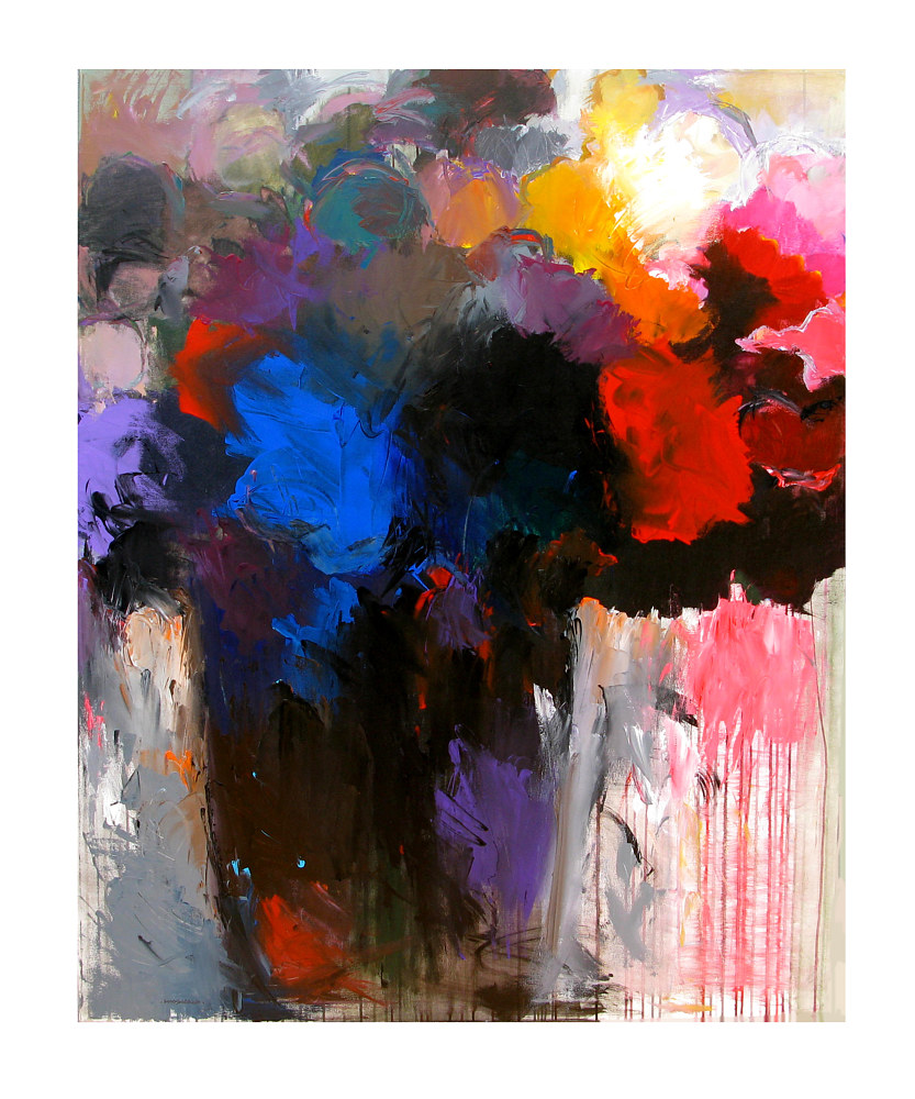 Acrylic painting Color-Washed Bouquet, 48x60 inches by Hooshang Khorasani