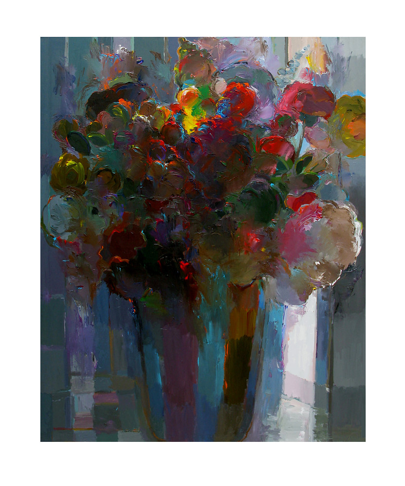 Acrylic painting Misty Bouquet, 48x60 niches by Hooshang Khorasani