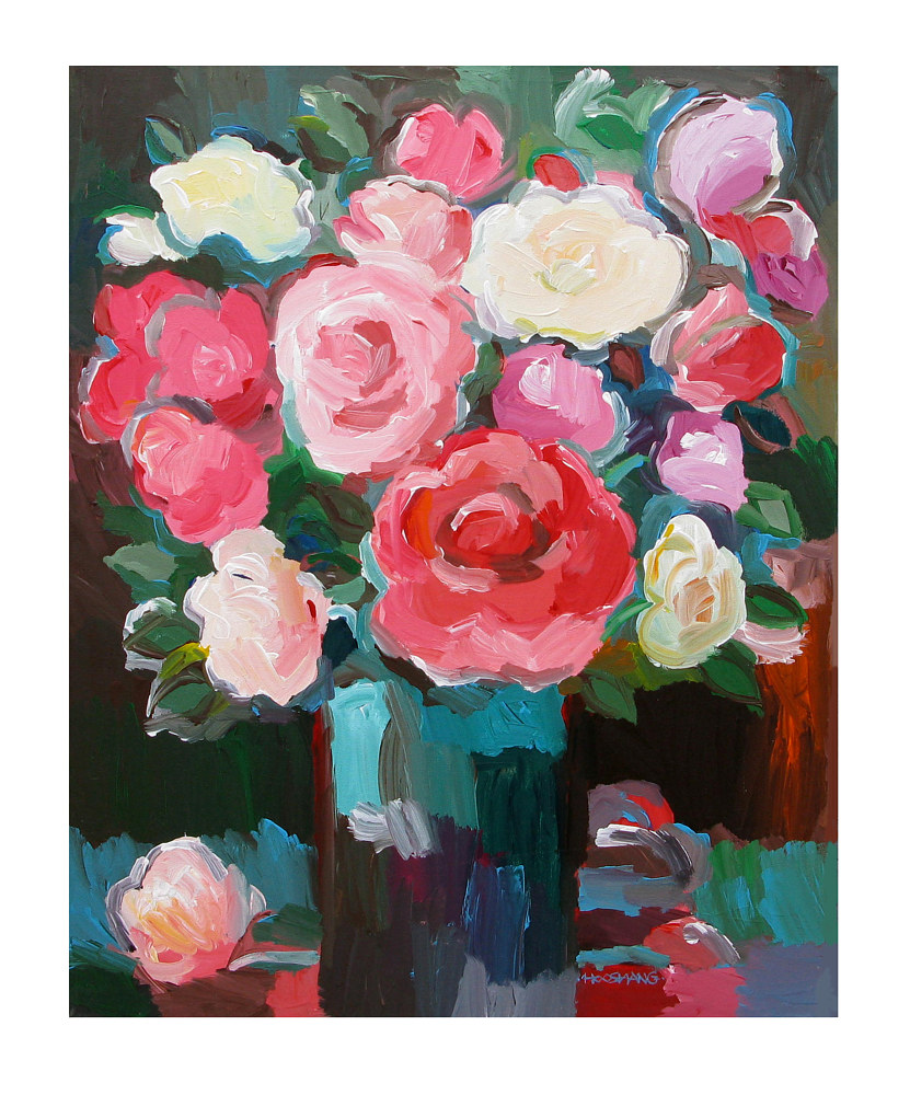 Acrylic painting Rose Garden, 24x30 inches by Hooshang Khorasani