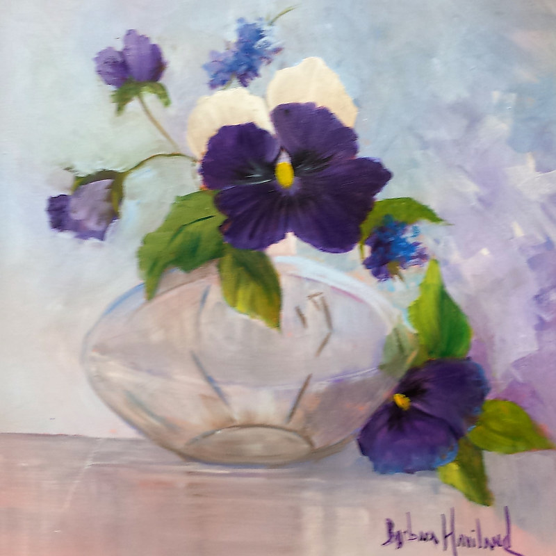 Oil painting Pansies in a Glass Vase by Barbara Haviland
