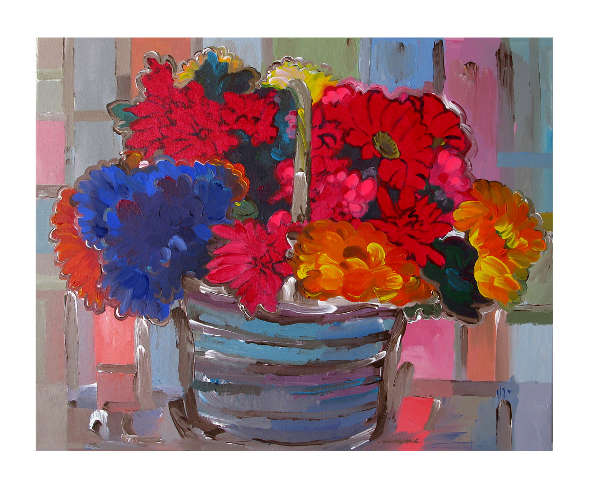 Acrylic painting Basket of Flowers II, 24x30 inches by Hooshang Khorasani