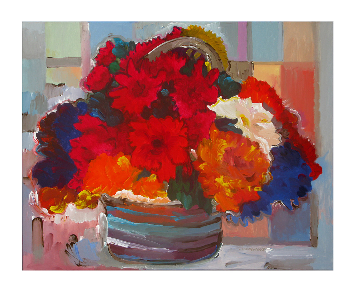 Acrylic painting Basket of Flowers, 24x30 inches by Hooshang Khorasani