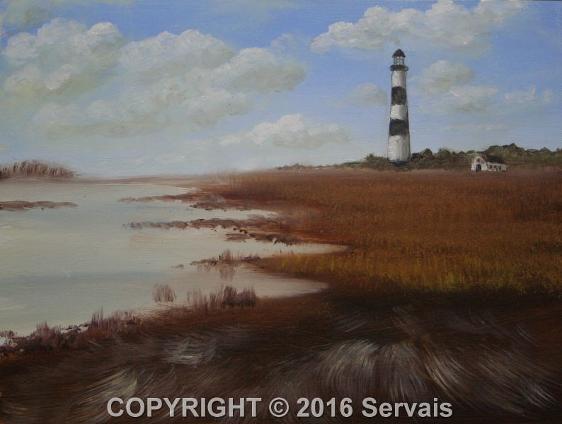 Oil painting A lighthouse by George Servais