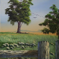 Acrylic painting Tree in the Meadow by George Servais