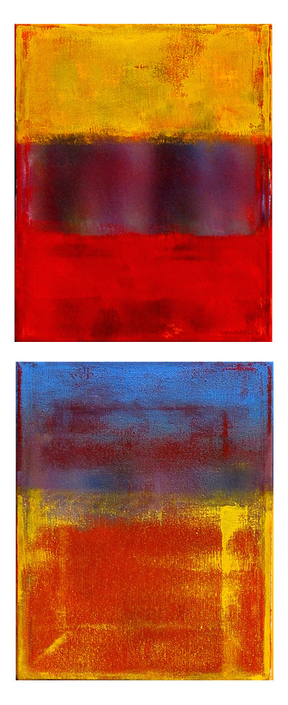 Acrylic painting Border, 8x10 inches each by Hooshang Khorasani