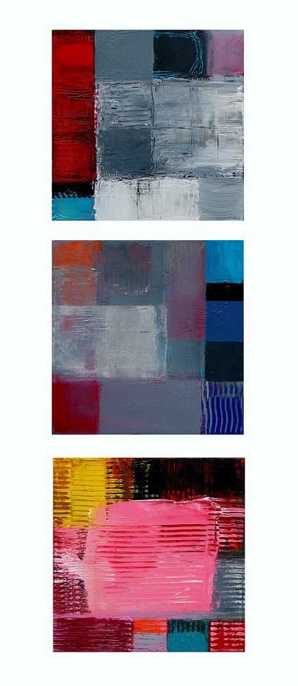 Acrylic painting Downtown, 12x12 inches each by Hooshang Khorasani