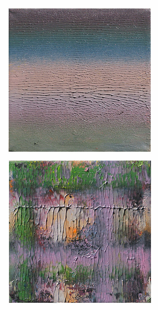 Acrylic painting Dusk In The Garden, 6x6 inches each by Hooshang Khorasani