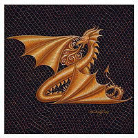 "Print Dracoserific Letter Z, Gold on Jet Black 6x6""Square by Sue Ellen Brown"