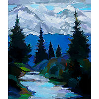 Acrylic painting Mount Rainier, 40x50 inches by Hooshang Khorasani