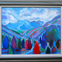 Acrylic painting Colorado Composition, 24x30 inches/31x37 with frame by Hooshang Khorasani