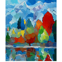 Acrylic painting Teton Tribute, 24x30 inches by Hooshang Khorasani