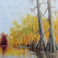 Oil painting Cypress At Ken's Plein Air by Barbara Haviland