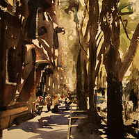 Watercolor Boulevard in Milano (WC study) by Nella Lush