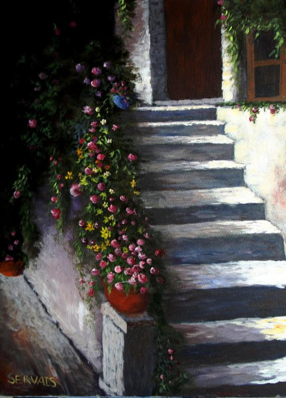 Acrylic painting Old World Stairs by George Servais