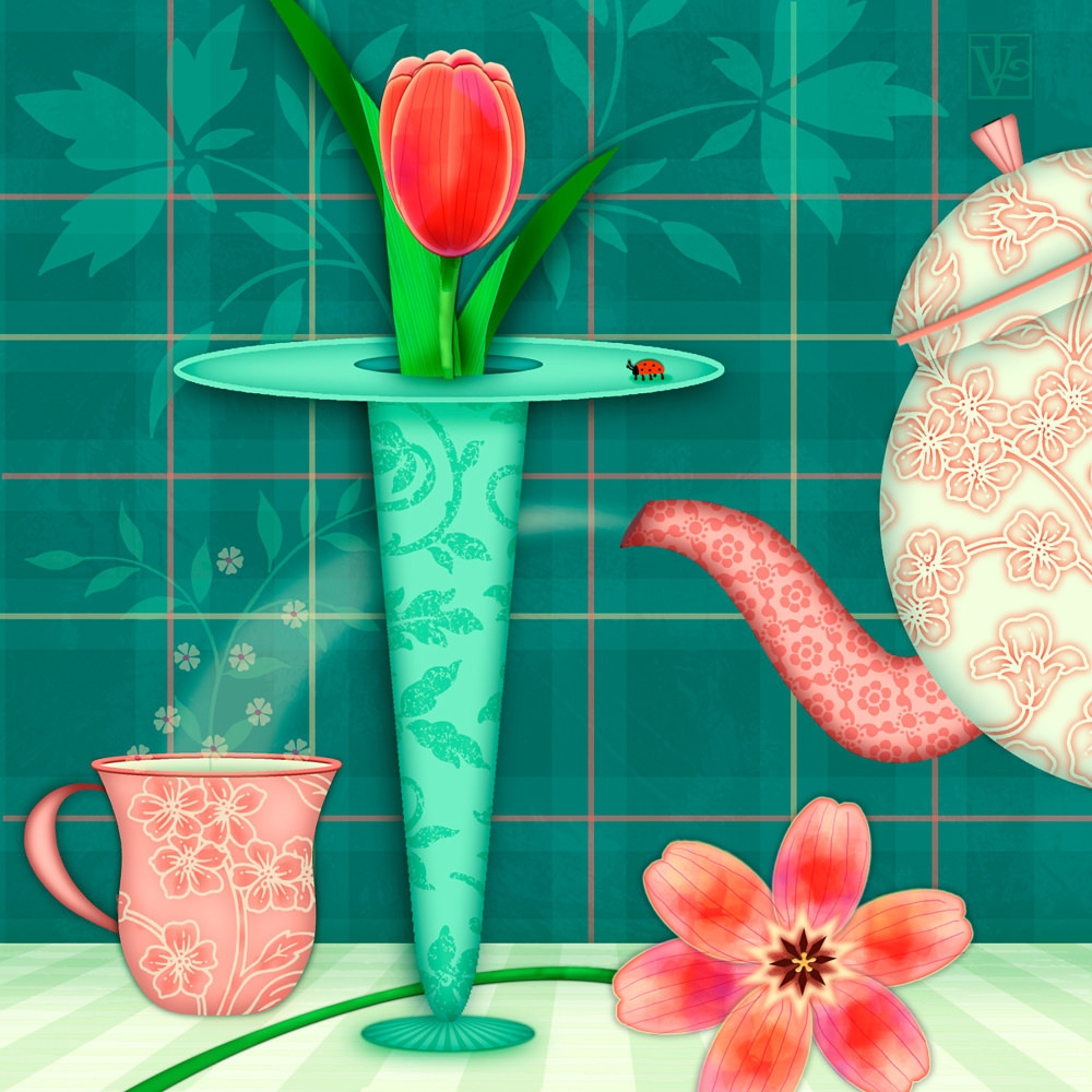 T is for Two Tulips with Tea by Valerie Lesiak