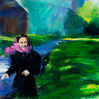 Oil painting maddy in the park by Madeline Shea