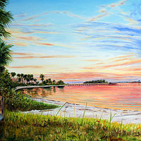 Oil painting Indian River Sunset by Richard Ficker