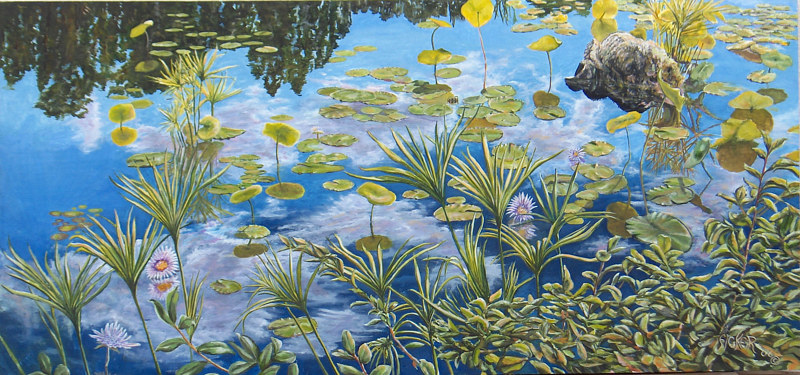 Oil painting Lilly Pond by Richard Ficker